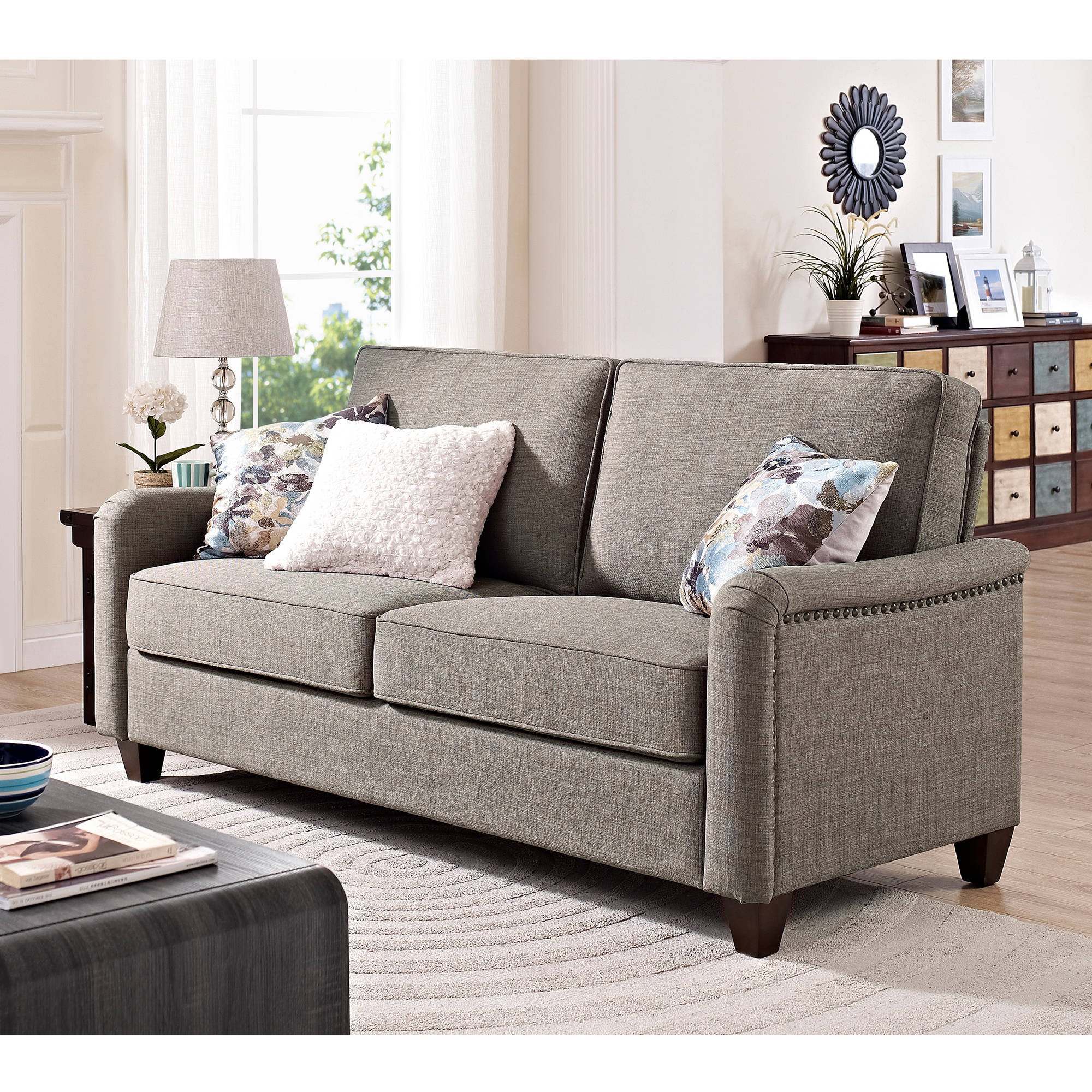 Better Homes And Gardens Grayson Sofa With Nailheads, Grey