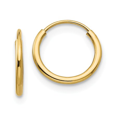 14k Yellow Gold Childrens Hoop (14k Yellow Gold Madi K Childrens Endless Hoop Earrings 10x10 mm )