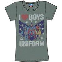 Batman, Robin, & Superman I Heart Boys in Uniform Juniors T-Shirt