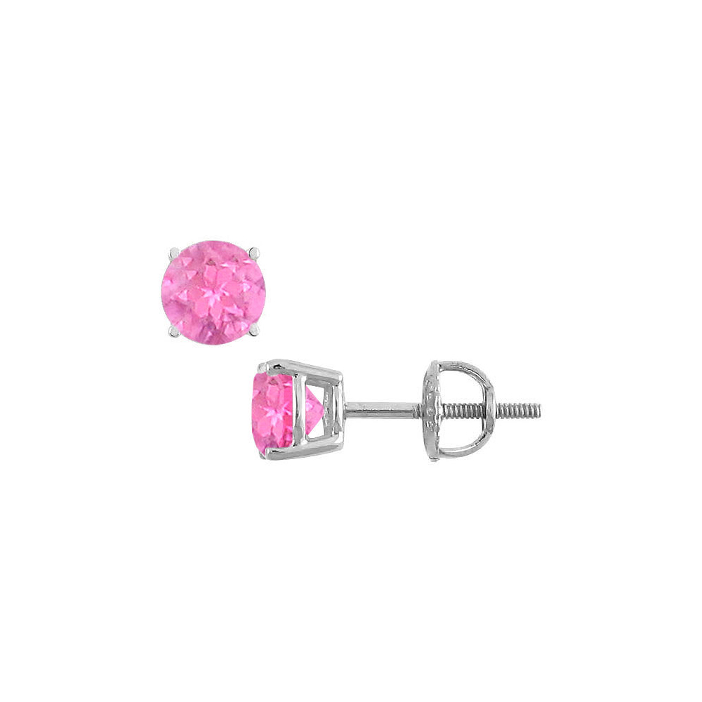 14K White Gold Prong Set Created Pink Sapphire Stud Earrings 0.75 CT TGW - image 2 de 2