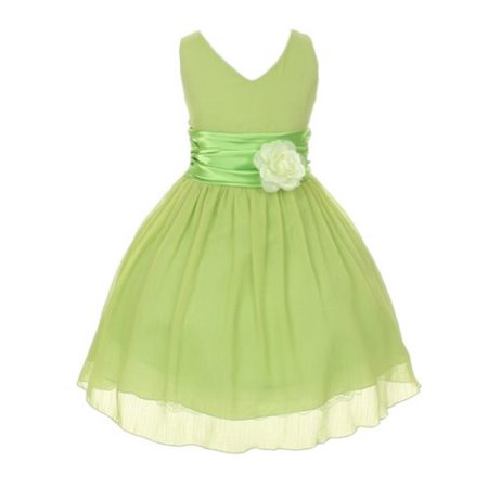 StylesILove Double Georgette Chiffon Flower Girl Dress with Shawl (10-11 Years, - Girls Green Dresses