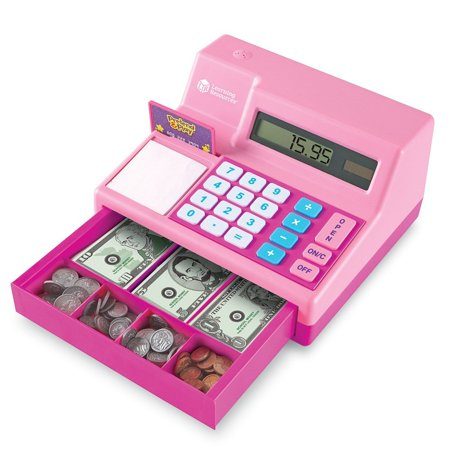Pretend Play Teaching Cash Register - Learning Resources Pretend and Play Calculator Cash Register, Pink