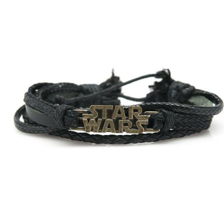 Star Wars Rope and Leather Adjustable Unisex Charm Bracelet