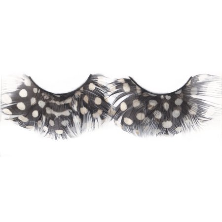 Loftus Polka Dot Costume Feather 2pc Eyelashes, Black White, One Size - La Bamba Costume