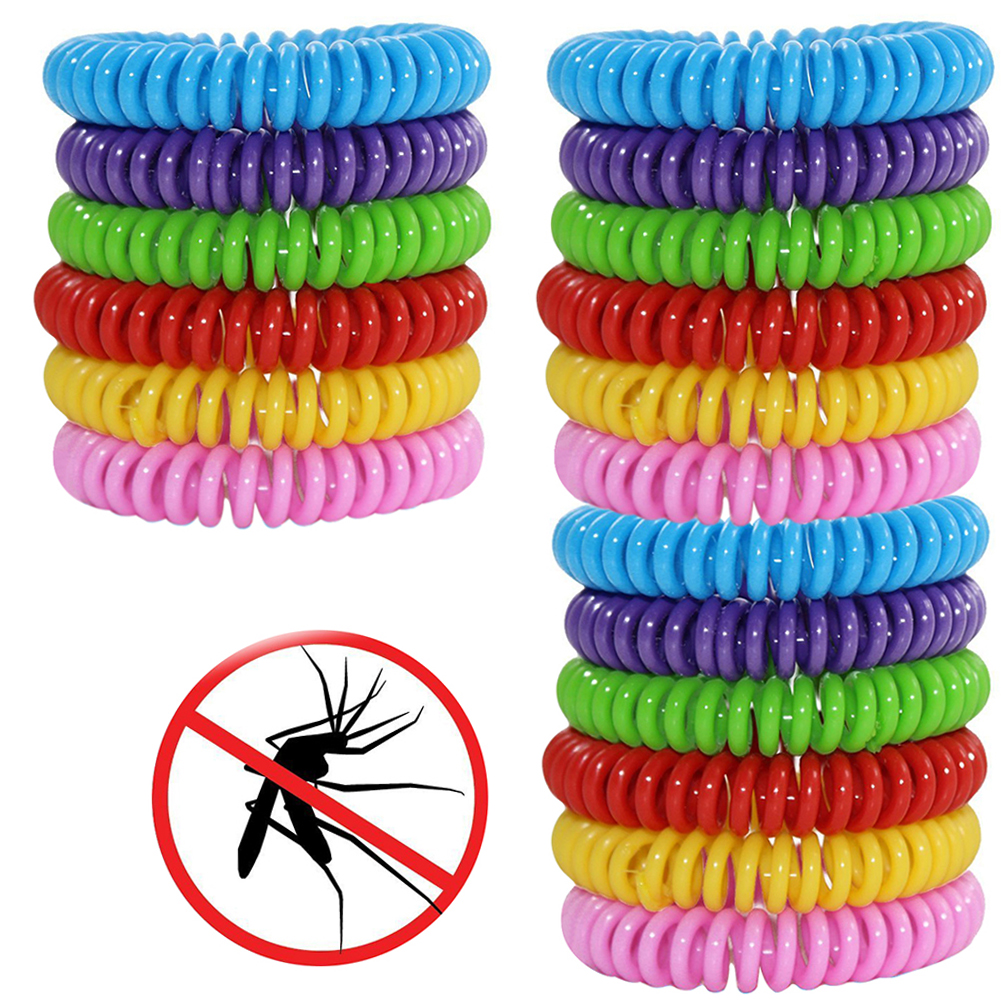 Natural Mosquito Insect Repellent Bracelets Outdoor Indoor Bug Pest Control Wristbands for Babies Toddler Kids (Yellow Blue Pink Red Green Purple)--18 Pack
