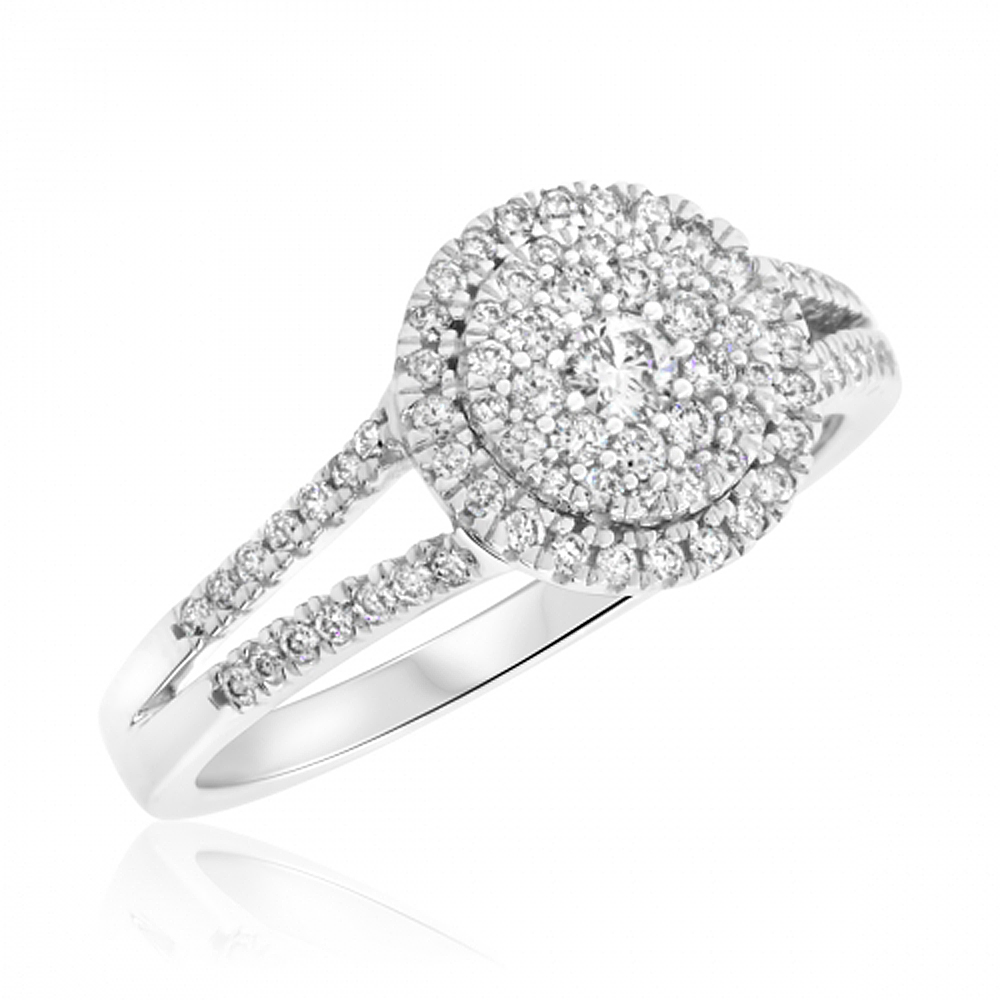 1 2 CTW Double Shank Diamond Engagement Ring in 14K White Gold by