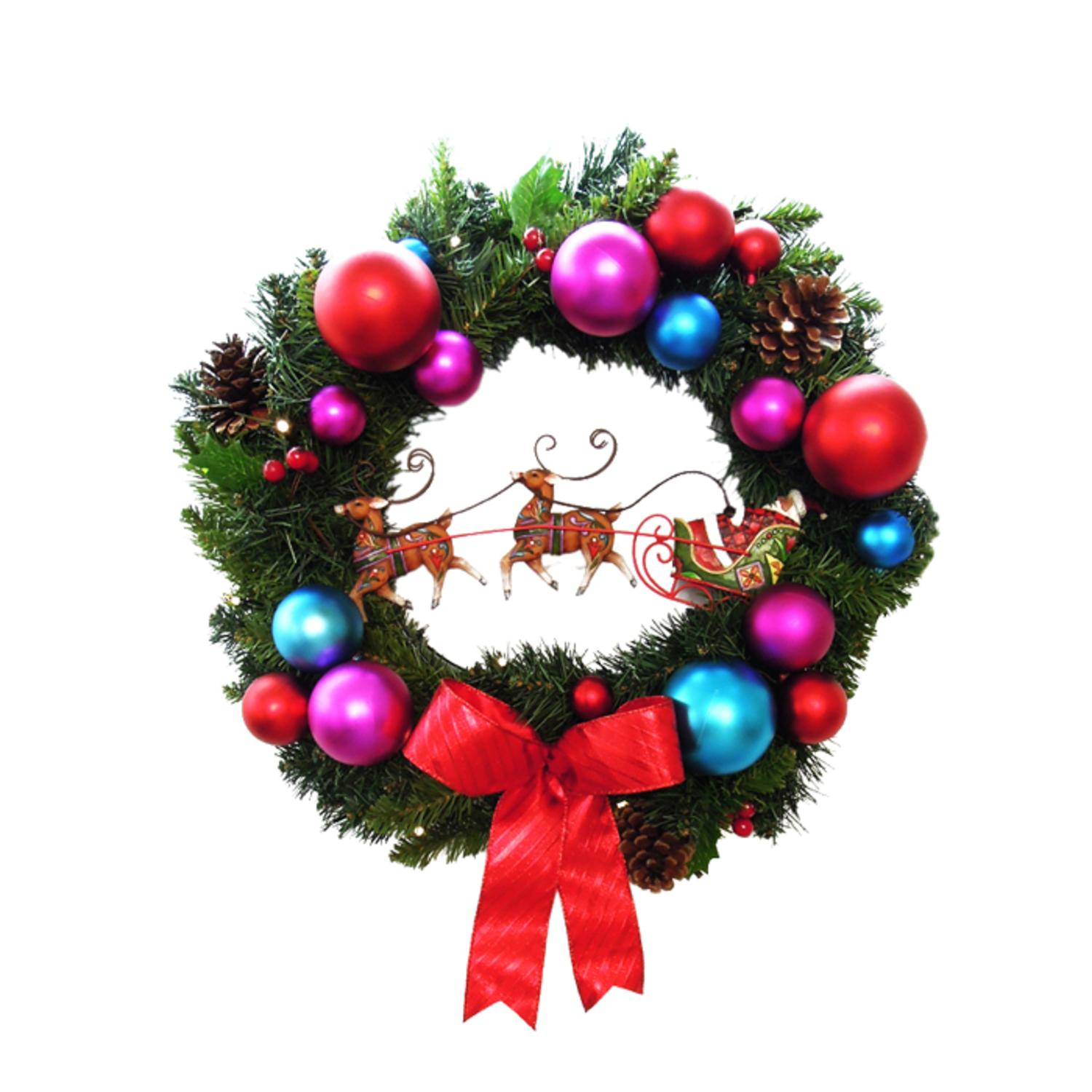 "24"" Pre-Decorated B/O LED Lighted Christmas Wreath with Santa's Sleigh - Clear"