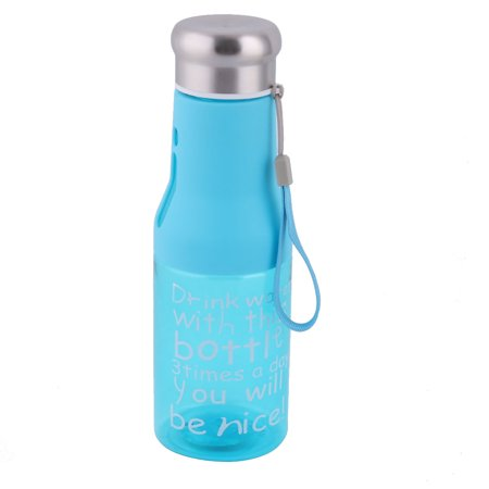 Outdoor Camping Plastic Water Juice Tea Drinking Cup Holder Bottle Sky Blue