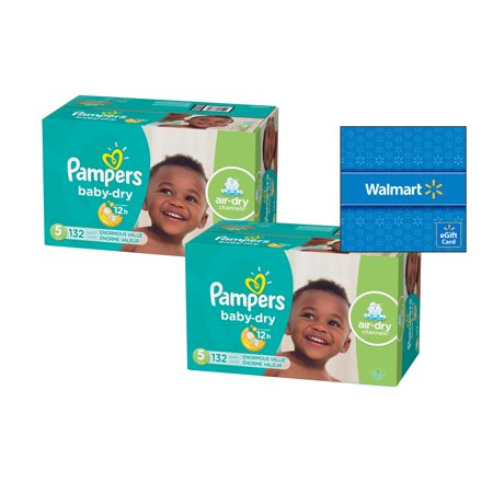 [Buy 2, Get $15 Gift Card] Pampers Baby-Dry Diapers Size 5, 132 Count (Total 264 Diapers)](Diy Diaper)