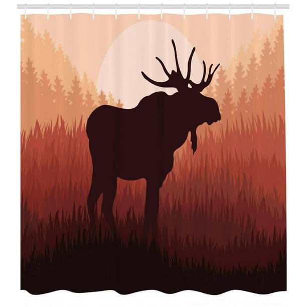 Moose Shower Curtain Antlers In Wild