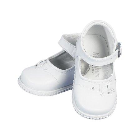Angels Garment Girls White Mary Jane Bow Rhinestone Dress Shoes 2 Baby-5Toddler