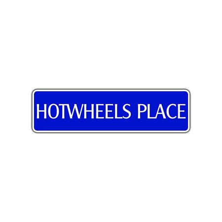 Hotwheels Place Metal Street Sign Auto Racing Nascar Outdoor Bar Wall Decor 4x13.5 - Racing Decor