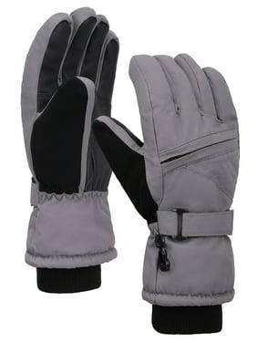 Kids Waterproof 3M Thinsulate Winter Zippered Snowboard Ski Gloves Royal M