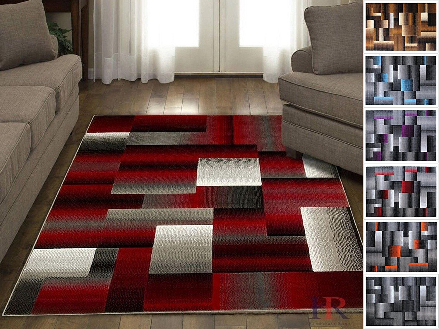 Handcraft Rugs Red Black Grey Abstract Geometric Modern
