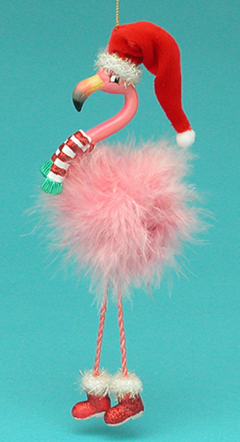 8 Tropical Paradise Pink Flamingo With Dangling Legs Christmas Ornament