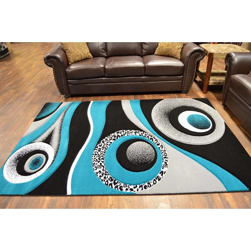 Ivy Bronx Mccampbell Turquoise/Gray/Black Area Rug