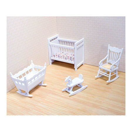 Melissa Doug Classic Wooden Dollhouse Nursery Furniture 4 Pcs Crib Bassinette Rocker Rocking Horse