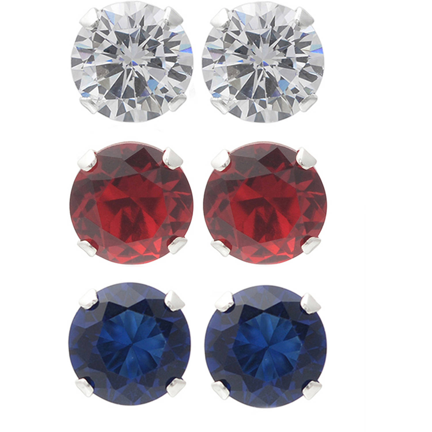 Brinley Co. Women's CZ Sterling Silver Round Stud Earrings Set, 3 Pairs