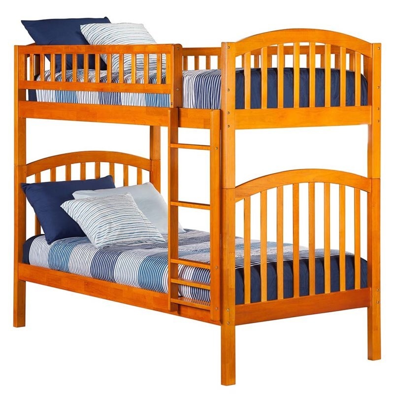 Leo & Lacey Twin Over Twin Bunk Bed in Caramel Latte