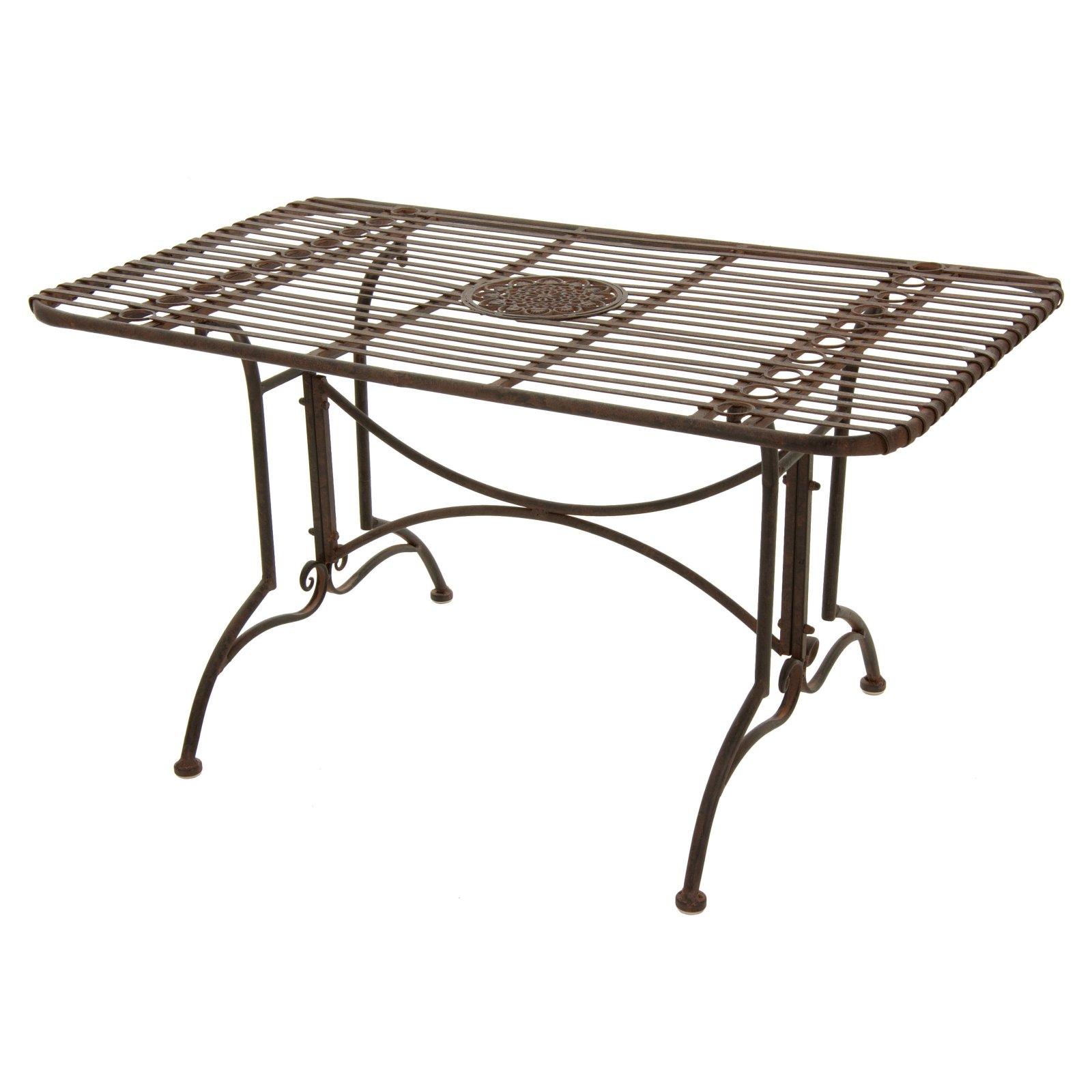 Oriental Furniture Rustic Wrought Iron Rectangular Patio Dining Table