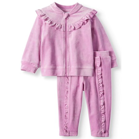Ruffle Velour Top & Jogger Pants Tracksuit, 2-Piece Outfit Set (Baby Girls)