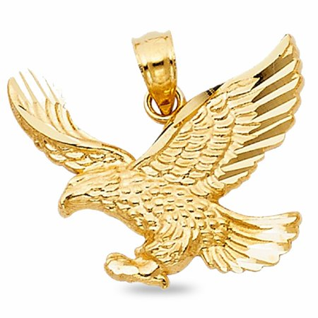 - Solid 14k Yellow Gold Eagle Pendant Bird Charm Diamond Cut Fancy Polished Style 17 x 21 mm