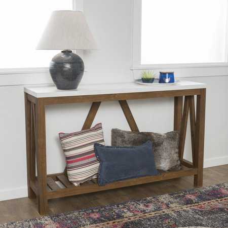 """Manor Park 52"""" A-Frame Rustic Entry Console Table - Faux Marble/Walnut"""