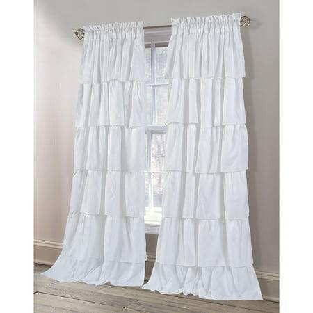 Dainty Home Carnival Ruffled Rod Pocket Window Curtain Panel Pair