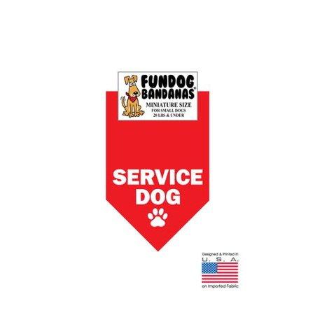 MINI Fun Dog Bandana - SERVICE DE CHIEN - Taille miniature pour petits chiens de moins de 20 livres, écharpe rouge animal