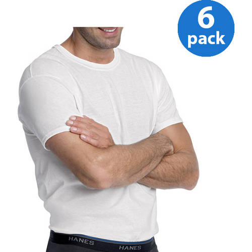 Hanes Men's 6 Pack White Crew T-Shirt