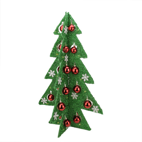 Table Top Lighted Christmas Tree: Northlight Seasonal Battery Operated Decorated Tinsel LED