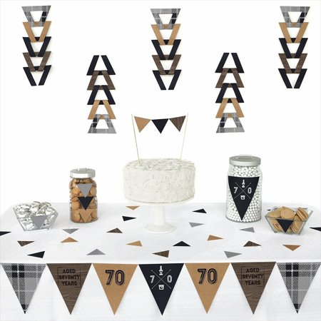 70th Milestone Birthday - Triangle Party Decorations - 72 Pieces