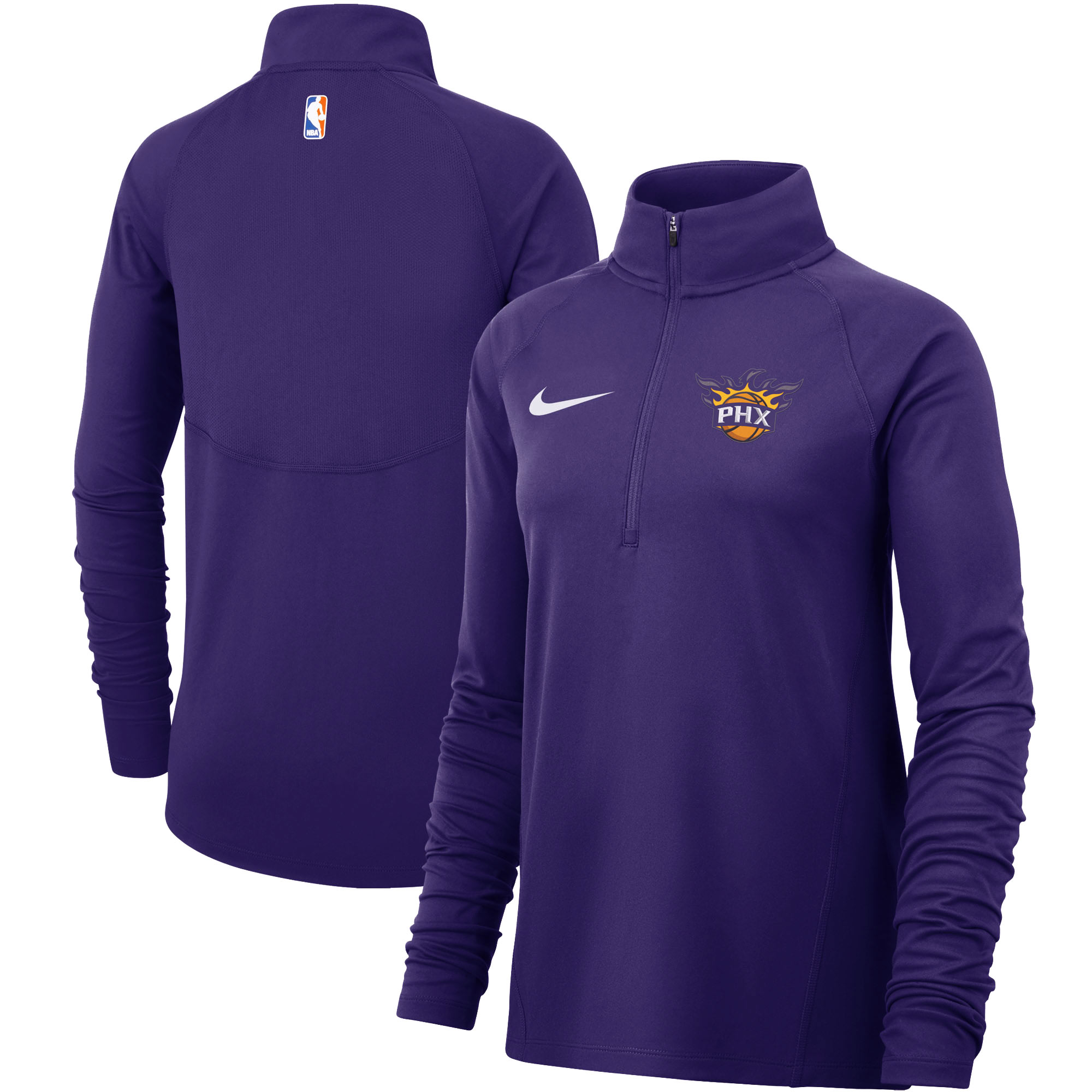 Phoenix Suns Nike Women's Element Performance Raglan Sleeve Half-Zip Pullover Jacket - Purple