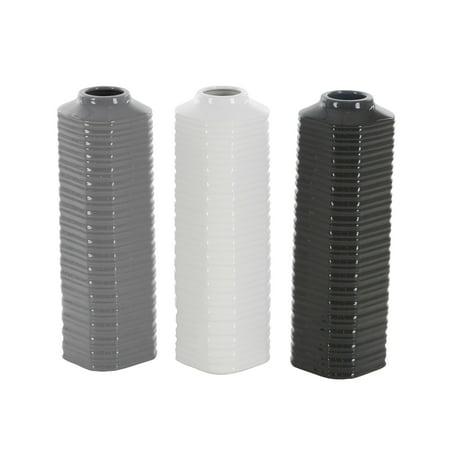 Ribbed Ceramic - Decmode Set of 3 contemporary 13 inch ribbed hexagonal-prism ceramic vases, Gray, White, Black