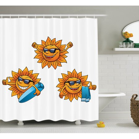 Cartoon Decor Shower Curtain Set Surf Sun Characters Wearing Shades And Surfboards Fun Hippie Summer