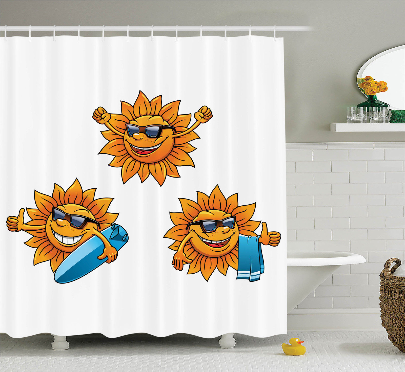 Cartoon Decor Shower Curtain Set, Surf Sun Characters Wearing Shades And Surfboards Fun Hippie Summer Cartoon Kids Decor, Bathroom Accessories, 69W X 70L Inches, By Ambesonne