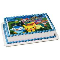 Pokemon Pikachu Chimchar Piplup Ash Kechum Snivy Edible Cake Topper Image