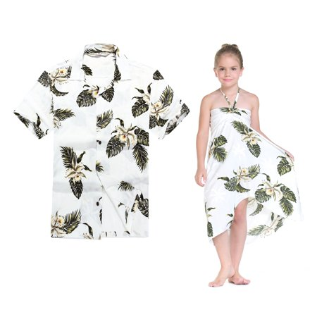 Matching Hawaiian Luau Outfit Men Shirt Girl Dress in Palm Green Men L Girl 6](Hawaiian Suit)