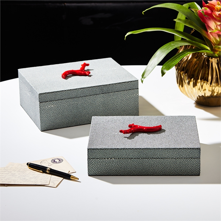 Coral Stingray Velvet Lined Jewelry Boxes, Set of 2 by