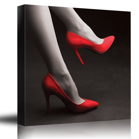 Cool Pop Art (wall26 Romance Series - Black white and red color pop - Red high heels - Romantic date night - Canvas Art Home Decor - 12x12 inches )