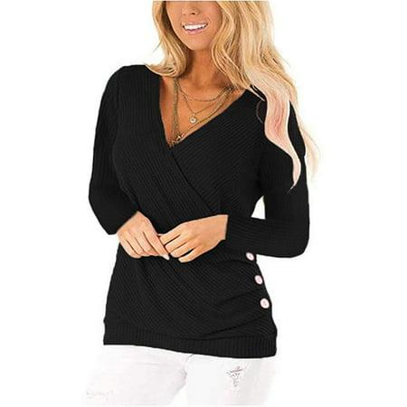 Women's Waffle Knit V Neck Wrap Side Button Long Sleeve Tunic Blouse