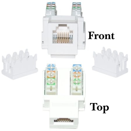 acl phone/data jack, rj11/rj12 female to 110 type punch down keystone  insert, white, 20 pack - walmart com