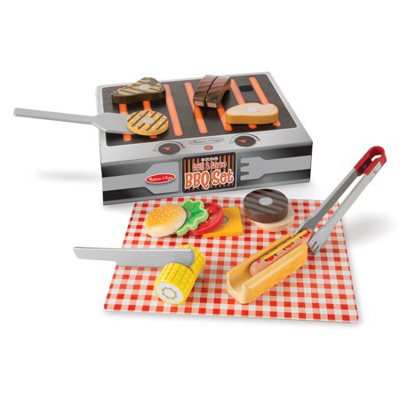 Melissa & Doug Grill and Serve BBQ Set (20 pcs) - Wooden Play Food and