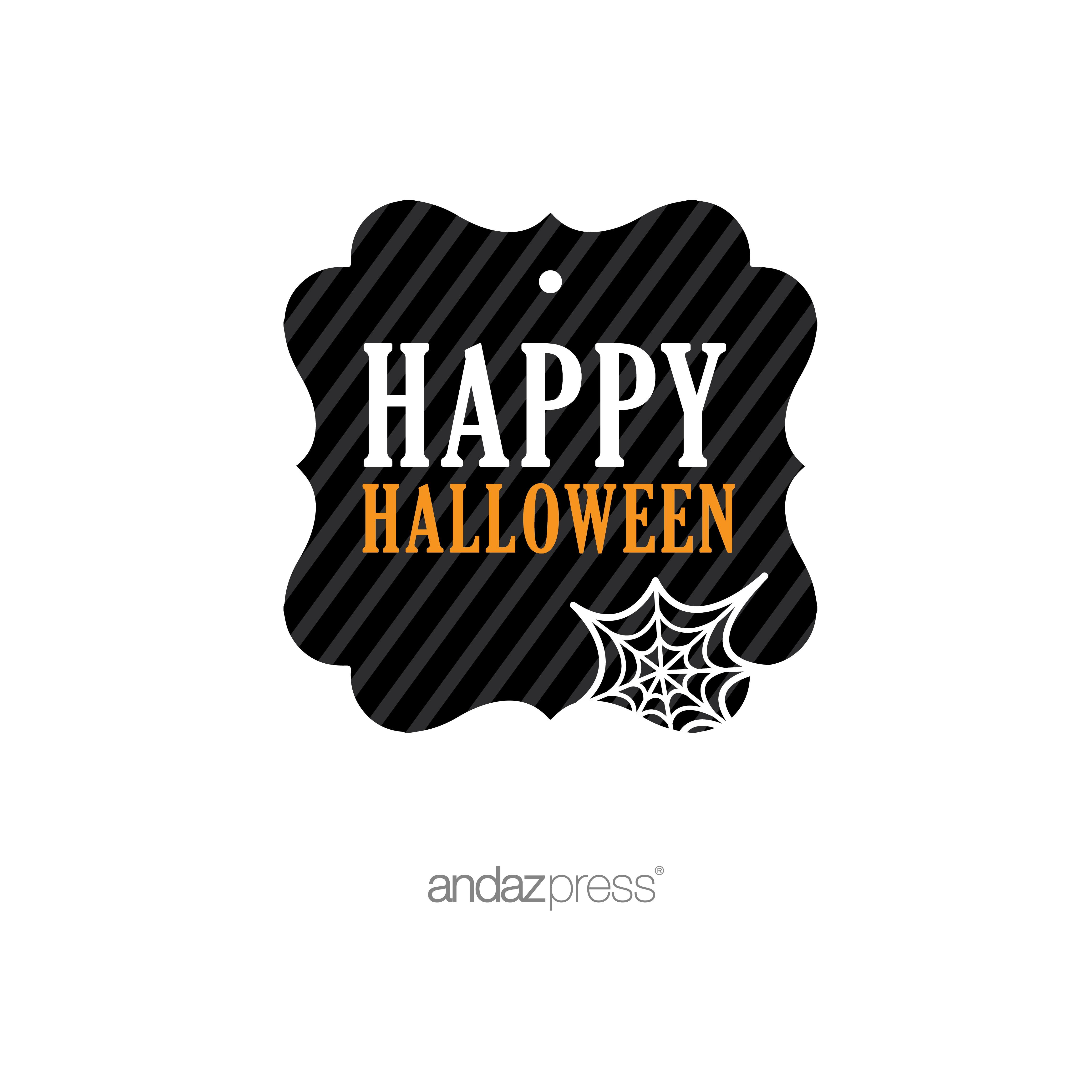 Happy Halloween Orange Black & Orange Halloween Thank You Fancy Gift Tags, 24-Pack