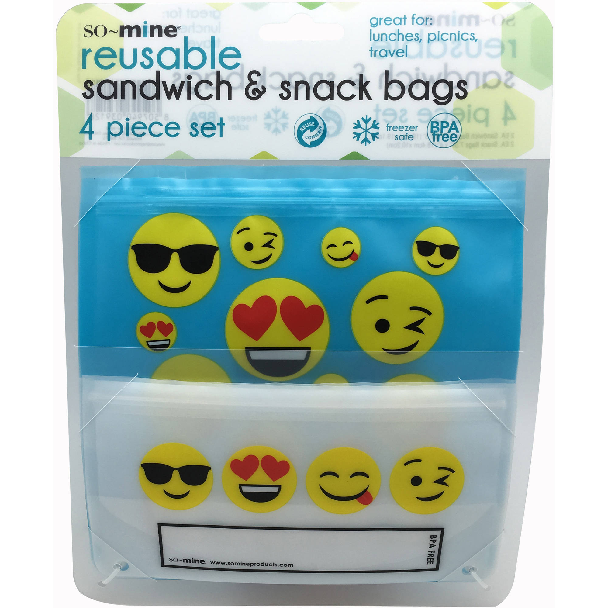 Reusable Sandwich/Snack Bags with Emoji Designs