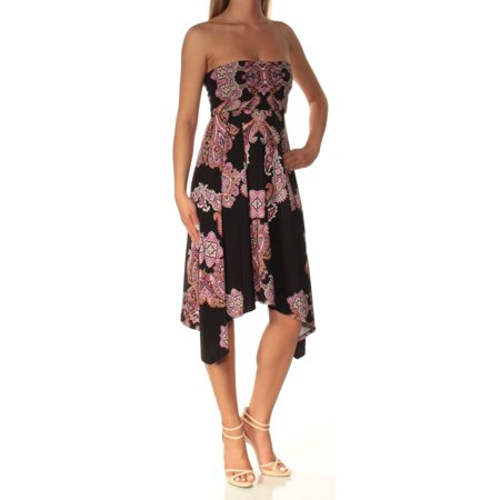 INC Womens Black Printed Strapless Midi Fit + Flare Dress  Size: XS