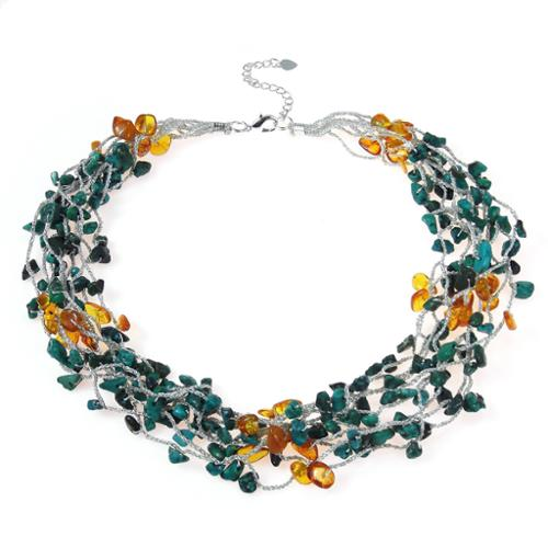 Handmade Silver Thread Amber/ Turquoise Multistrand Necklace (Thailand)