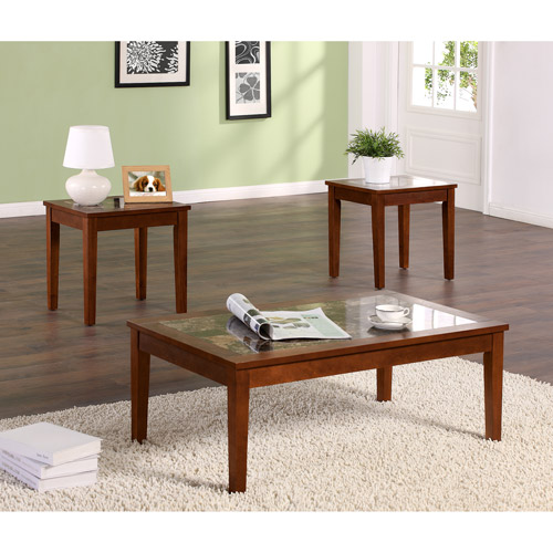 Dorel Living Faux Marble 3 Piece Coffee & End Tables Value Bundle, Walnut