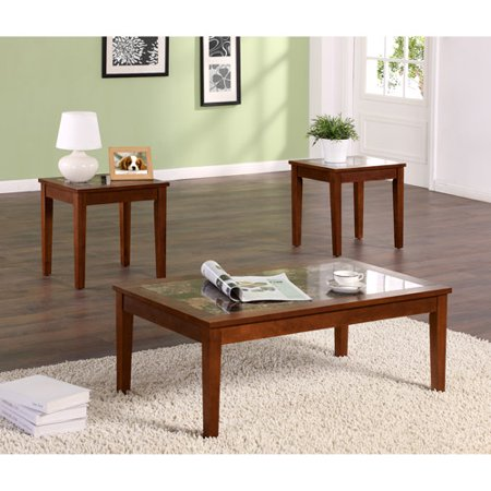 Dorel Living Faux Marble 3 Piece Coffee & End Tables Value Bundle, Walnut - Dorel Living Faux Marble 3 Piece Coffee & End Tables Value Bundle
