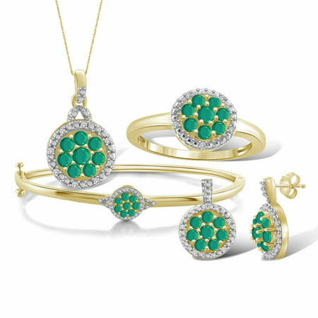 JewelersClub 2 1/2 Carat T.G.W. Emerald And White Diamond Accent 14k Gold Over Silver 4-Piece Cluster Jewelry Set 12 Piece Indian Bangle Set